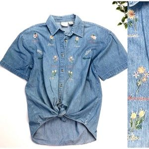 Vintage Embroidered Chambray Short Sleeve